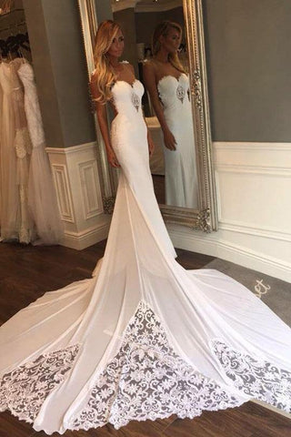 Unique Mermaid Sheer Neck Wedding Dresses with Lace Unique Ivory Bridal Dresses JS920