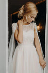 Unique Scoop Tulle Beads Chiffon Ivory V Back Long Wedding Dresses Beach Wedding Gowns W1077