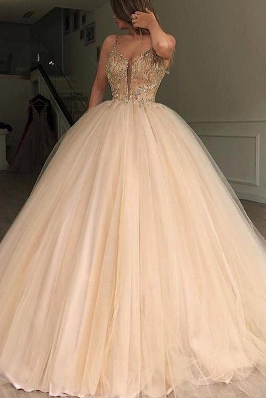 Unique Spaghetti Straps V Neck Beads Ball Gown Tulle Prom Dresses Quinceanera Dresses P1112