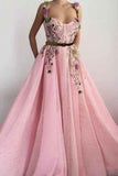 Unique Sweetheart Spaghetti Straps Prom Dresses with Flowers Pockets SSM751