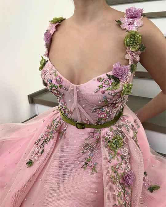 Unique Sweetheart Spaghetti Straps Prom Dresses with Flowers Pockets JS751