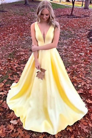 Unique Yellow Satin Prom Dresses with V Neck V Back Straps Long Formal Dresses SSM486