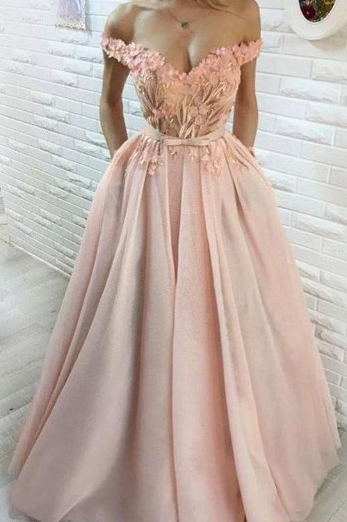A Line Hand-Made Flower Long Off the Shoulder Sweetheart Prom Dresses with Pockets JS256