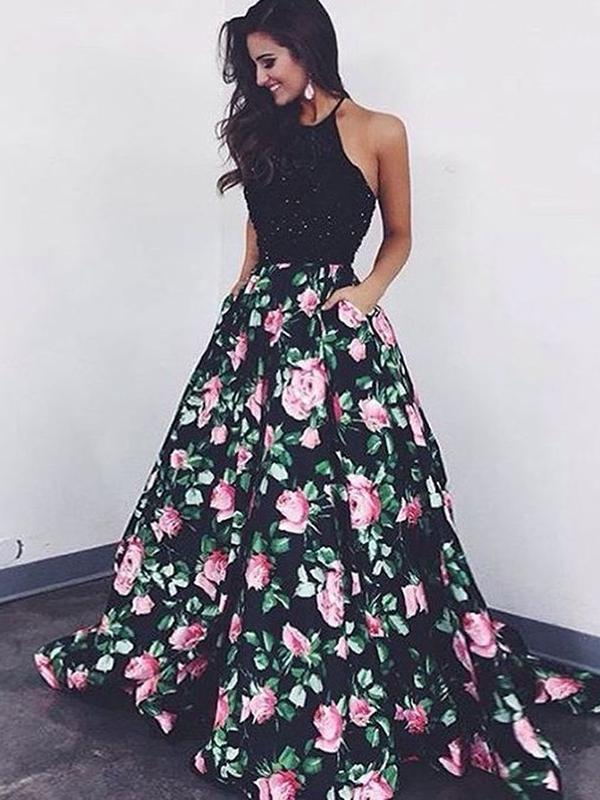 A Line Flowers Black with Flowers Sleeveless Pockets Beads Floor Length Prom Dresses JS47