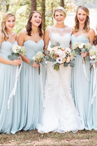 Simple A-Line Sweetheart Light Blue Long Spaghetti Straps Chiffon Bridesmaid Dress with Pleats JS266