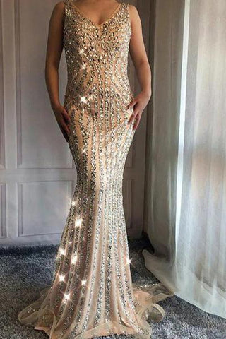 V Neck Long Mermaid Rhinestone Beaded Luxury Prom Dresses Backless Party Dresses SSM453
