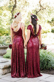 Vintage Burgundy Sequins Backless Long Prom Dresses Bridesmaid Dresses JS420