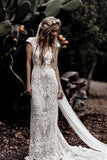 Vintage Lace V Neck Rustic Wedding Dresses Cap Sleeve Ivory Sheath Beach Wedding Gowns W1053