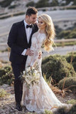 Vintage Long Sleeve Mermaid Lace Applique Wedding Dresses Beach Wedding Gowns W1057