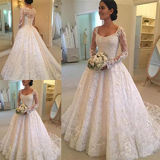 A Line Lace Applique Long Sleeve Sweetheart Covered Button Wedding Dresses SSM331