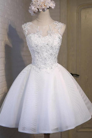 White Simple Graduation Dress Scoop Tulle Straps Homecoming Dresses with Lace up H1063