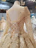 Ball Gown Gold Long Sleeves Lace Appliques Sequins Open Back Beads Quinceanera Dresses JS894
