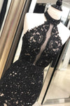 Black Lace Mermaid Long Tulle Halter Backless Beads Prom Dresses Cheap Evening Dresses JS224