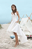 Spaghetti Straps V Neck Long High Low Ivory Homecoming Dress with Pockets JS216