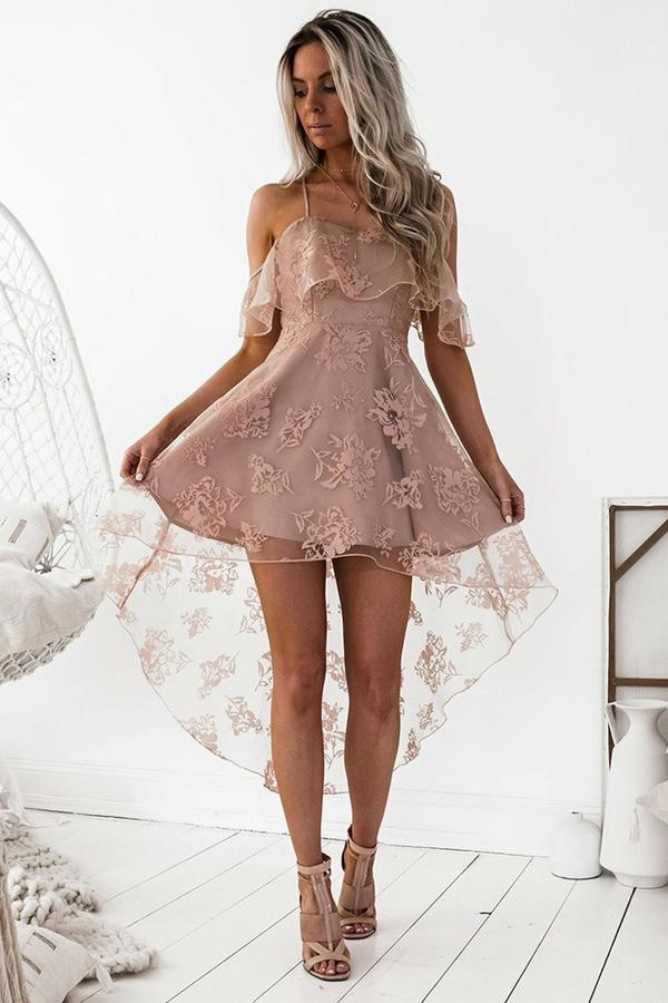 Cute A-Line High Low Blush Pink Spaghetti Straps Lace Short Homecoming Dresses JS04
