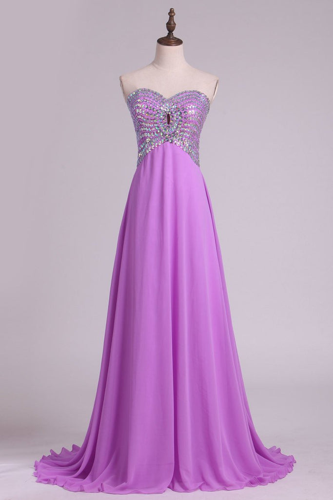 2021 A Line Sweetheart Beaded Bodice  Chiffon Sweep Train Prom Dresses