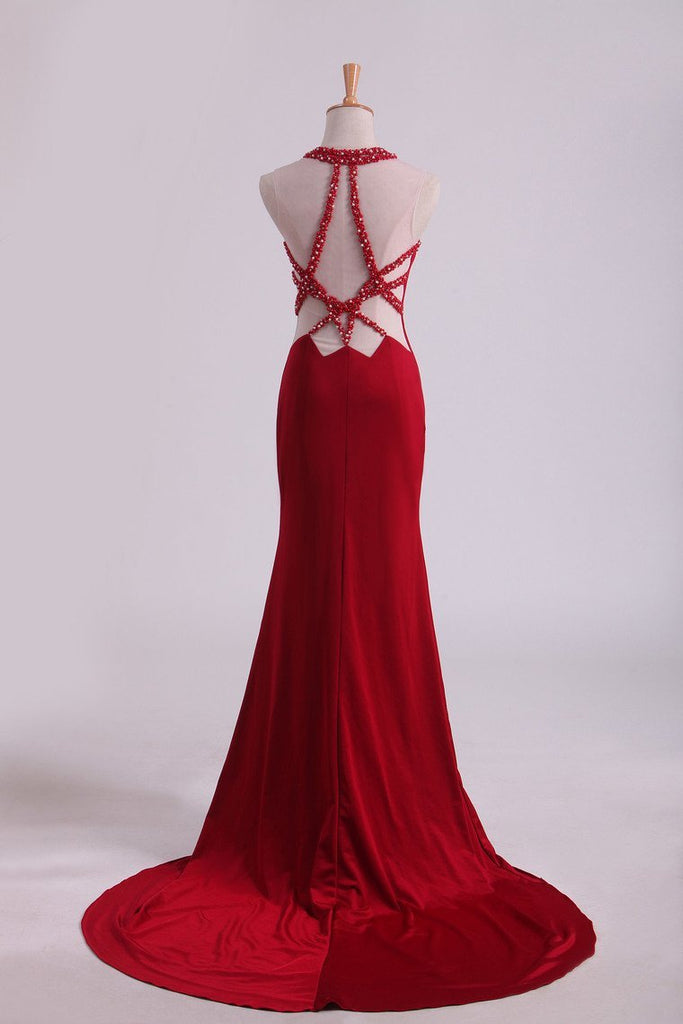 Burgundy Chiffon Prom Dresses Scoop Spandex With Beading Sweep Train Mermaid