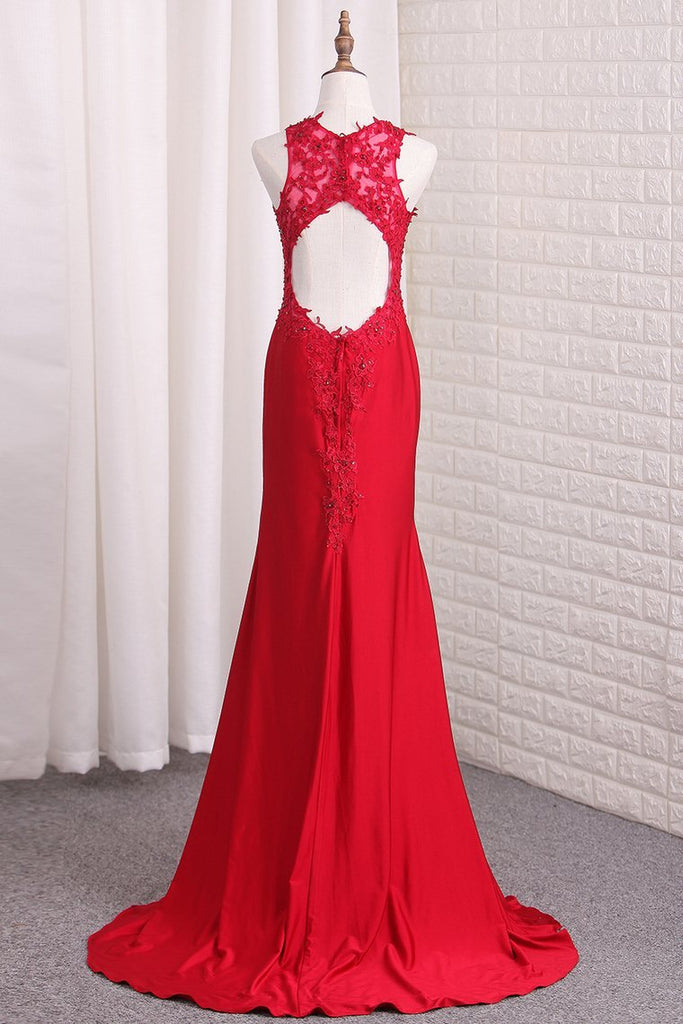 Open Back Straps Mermaid Prom Dresses Spandex With Applique