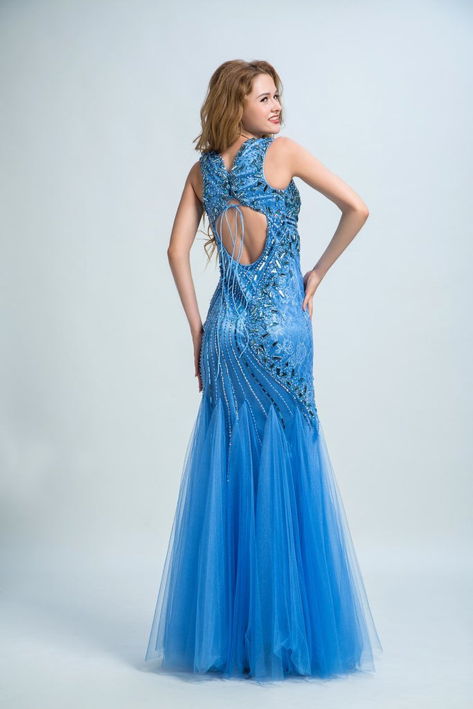 Prom Dresses V Neck Open Back Tulle With Beading Floor Length