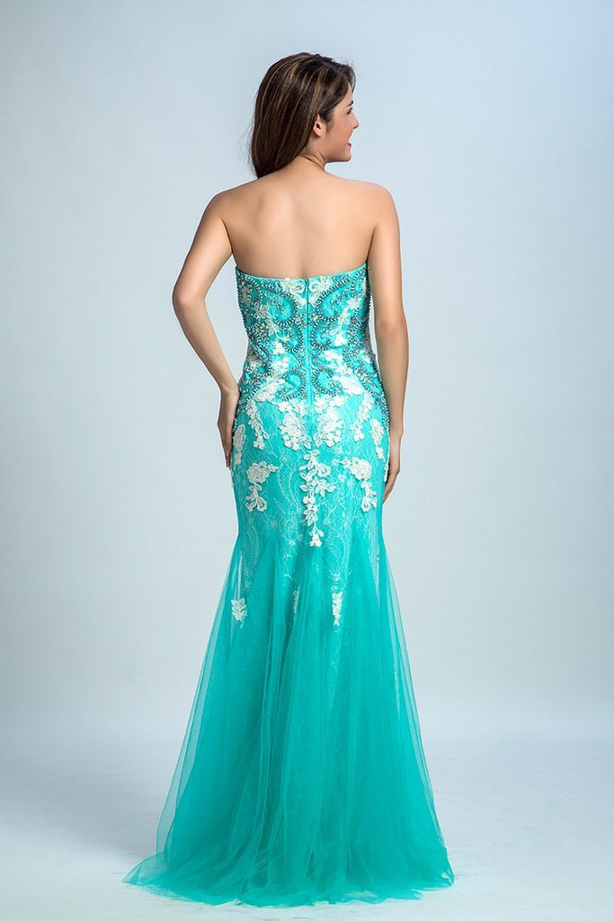 2019 Prom Dresses Strapless Mermaid With Beading And Applique