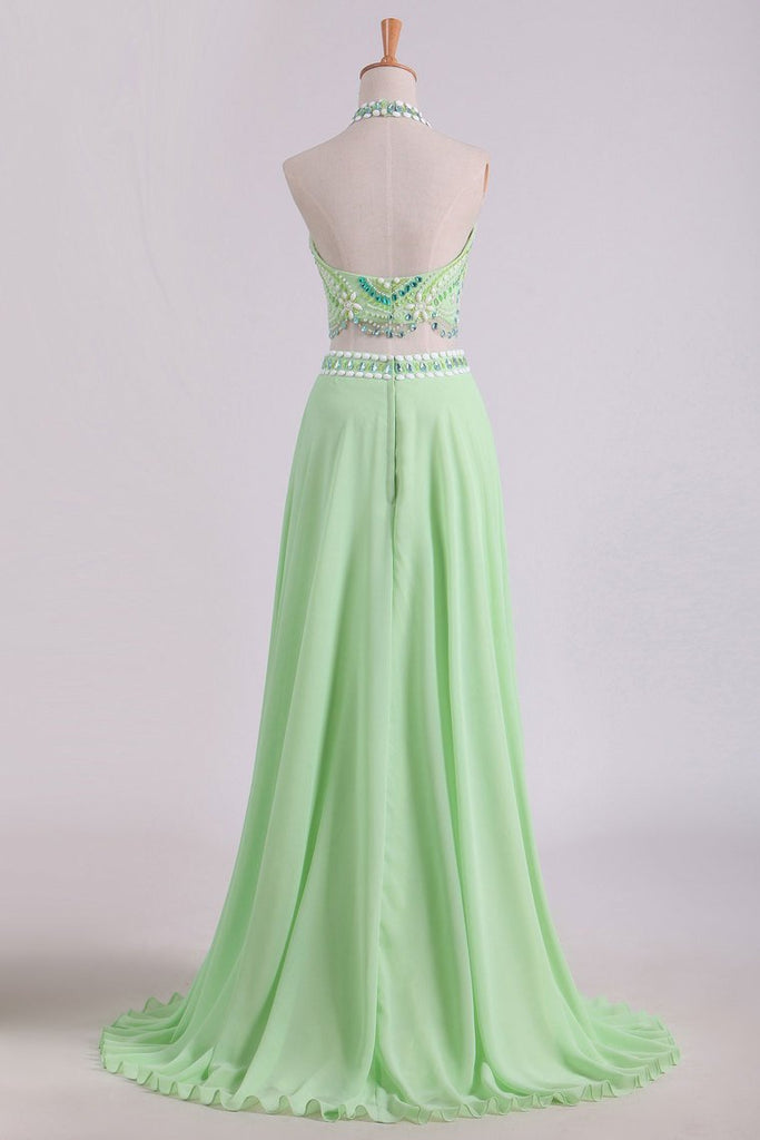Two Pieces Prom Dresses Halter A Line Chiffon Sweep Train With Beading