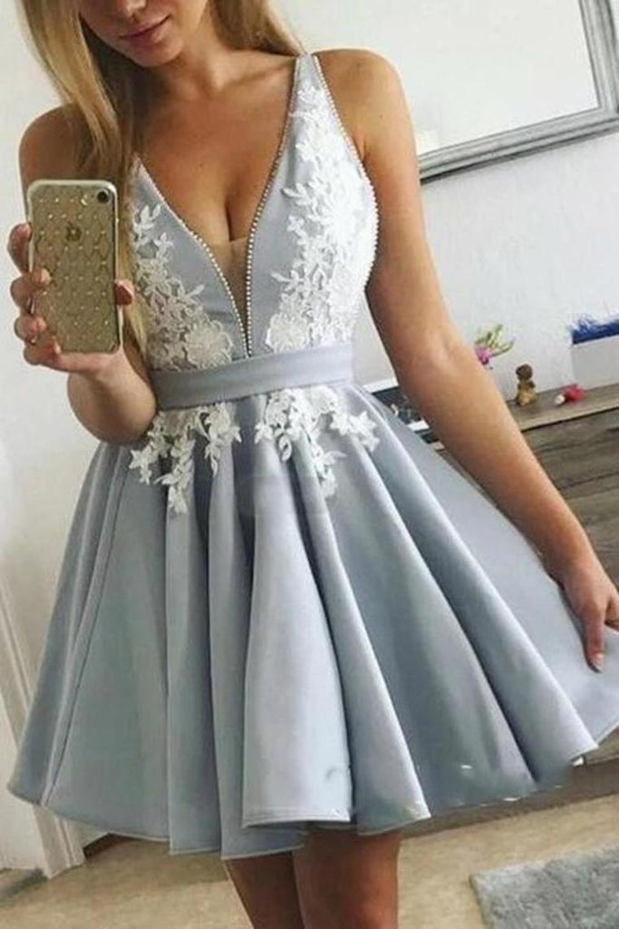 Cute V Neck Short Prom Dress, White Satin Homecoming Dress With Appliques