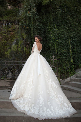Bateau Wedding Dresses 3/4 Length Sleeve With Applique Tulle