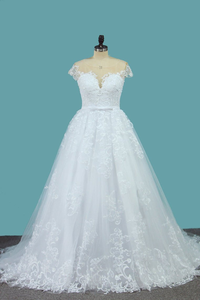 2021 A Line Lace Cap Sleeve Scoop Wedding Dresses With Beads Court Train
