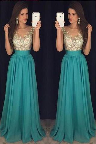 2021 Sexy Crew Neck Chiffon Long Tulle Beaded Stones Top Floor Length Prom Dresses JS162