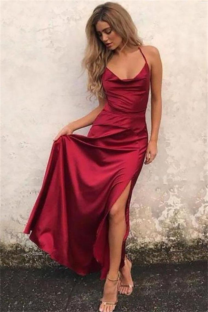 Spaghetti Straps Long Simple Cheap Burgundy Prom Dresses Party Dresses
