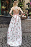 2021 A Line V Neck Spaghetti Straps Flower Lace Long Prom Dresses Party Dresses