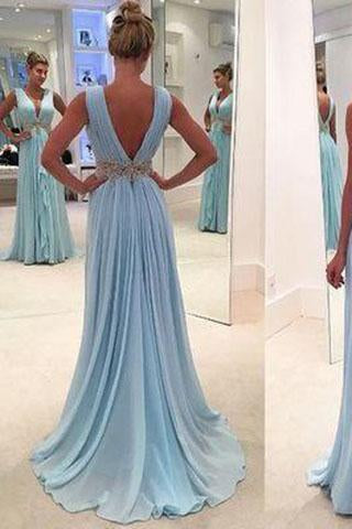 Charming A-Line Chiffon Long Backless Green Cap Sleeve V-Neck Floor-Length Prom Dresses JS39