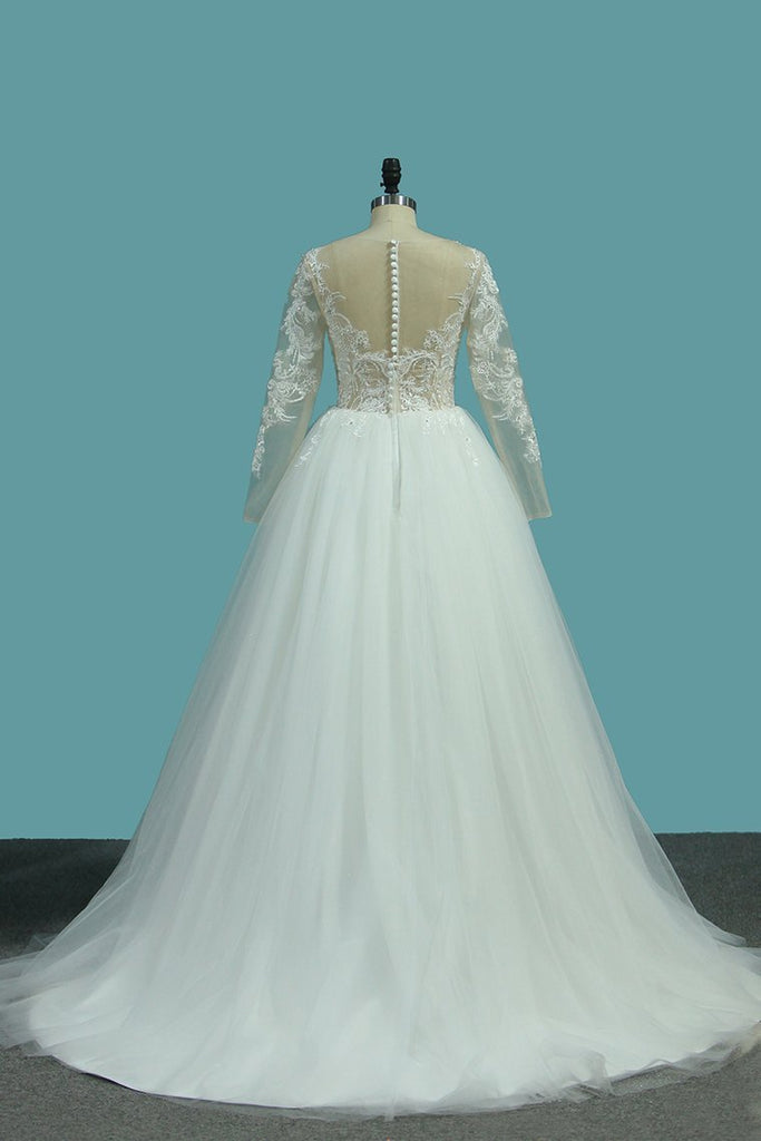 Long Sleeves A Line Scoop Tulle Wedding Dresses With Applique Chapel Train