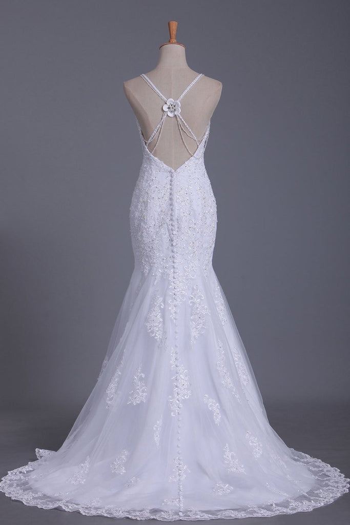Mermaid Spaghetti Straps Open Back Tulle With Applique And Beads Wedding Dresses