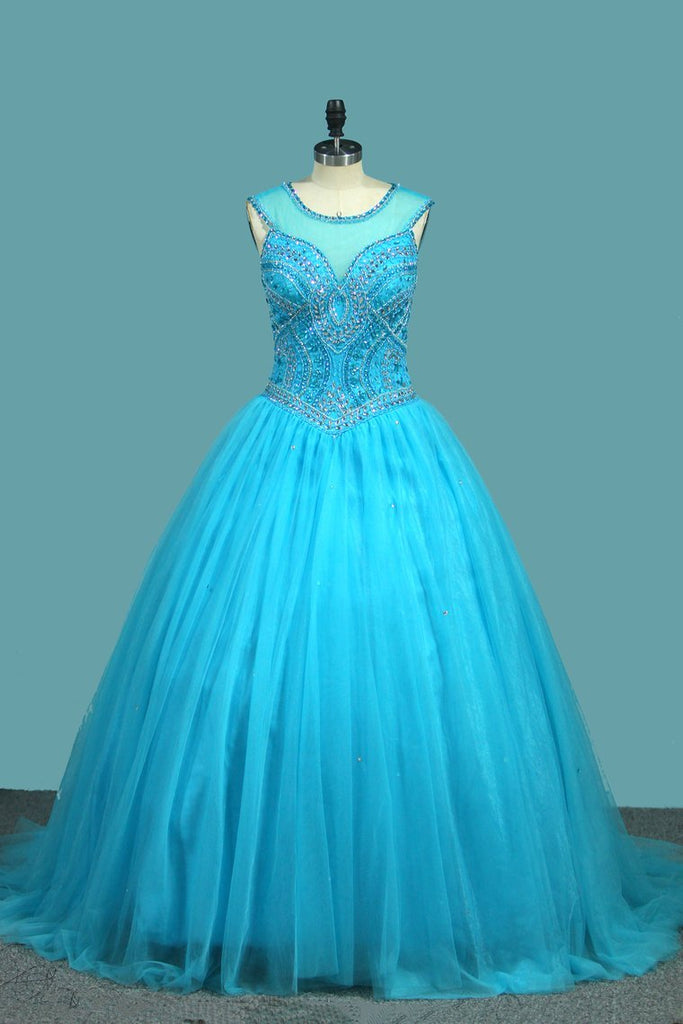 2021 Ball Gown Tulle Scoop Quinceanera Dresses Beaded Bodice Court Train