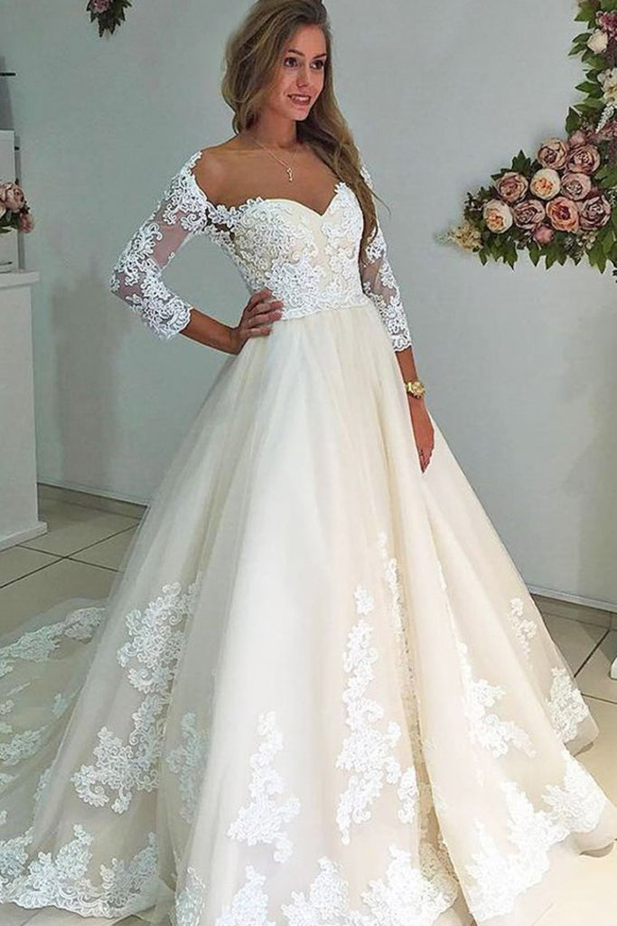 Modest Charming Bal Gown Lace Wedding Dresses With Sleeves Bridal Dresses