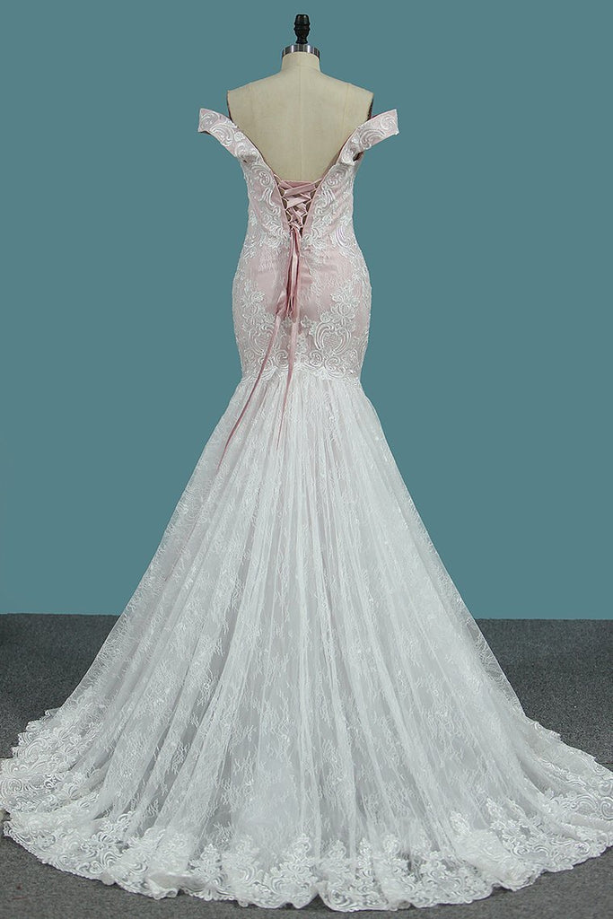 Mermaid Lace Off The Shoulder Wedding Dresses With Applique Sweep Train