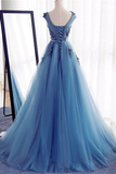 Charming Blue Long Lace Tulle Open Back Lace Up Princess Prom Dresses