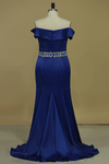 Stretch Satin Prom Dresses Boat Neck Mermaid With Beading Plus Size