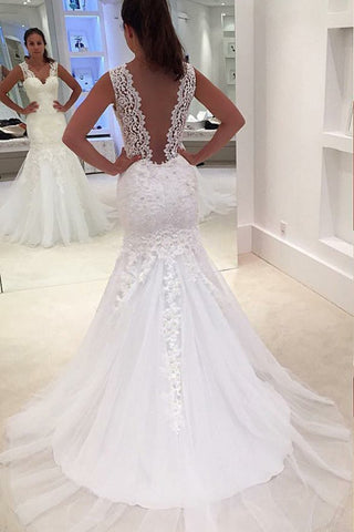 Tulle Wedding Dresses Mermaid V Neck With Applique Court Train