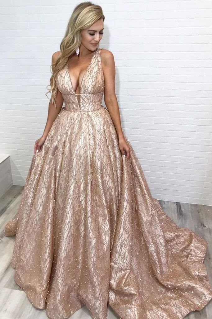 Sparkle A-Line Empire Gold Long Prom Dress