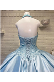 Halter Neckline Rhinestone And Crystal Beaded Quinceañera Dress Satin Ball Gown Prom SSMPZQM9EC2