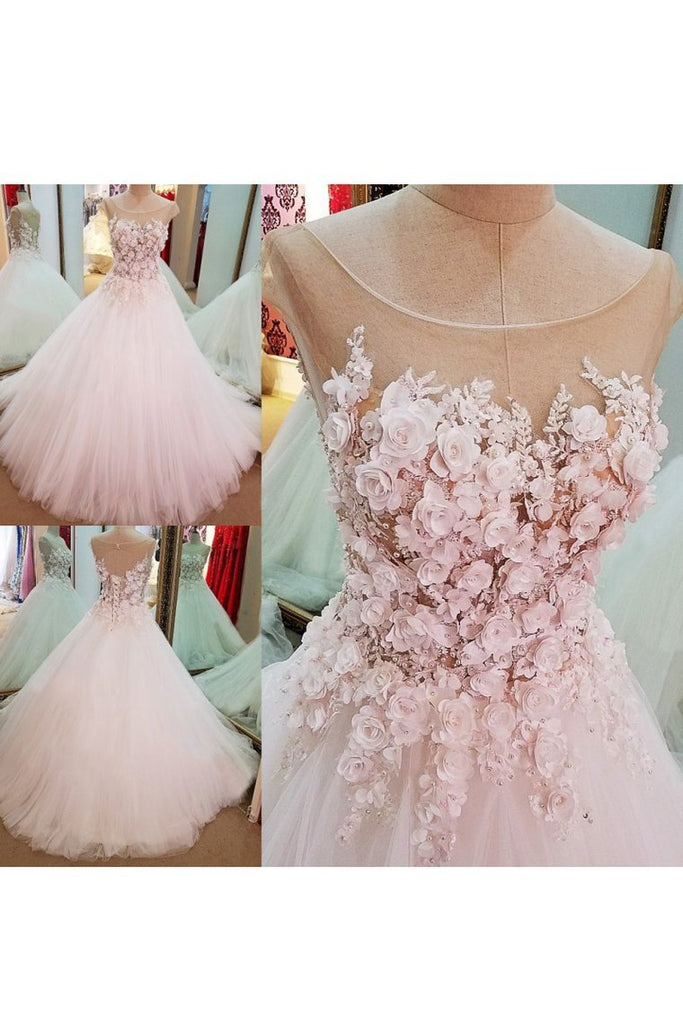 2019 Tulle Scoop With Handmade Flowers Wedding Dresses A Line Open Back
