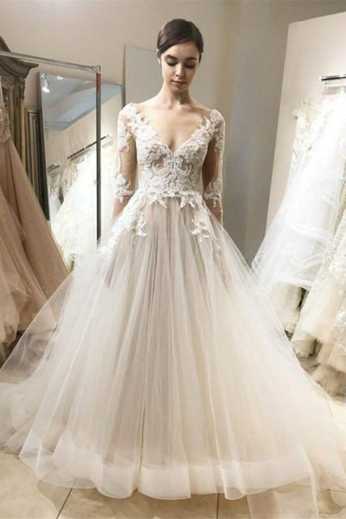 See Through Vintage Lace Wedding Dresses Ball Gown With Sleeves