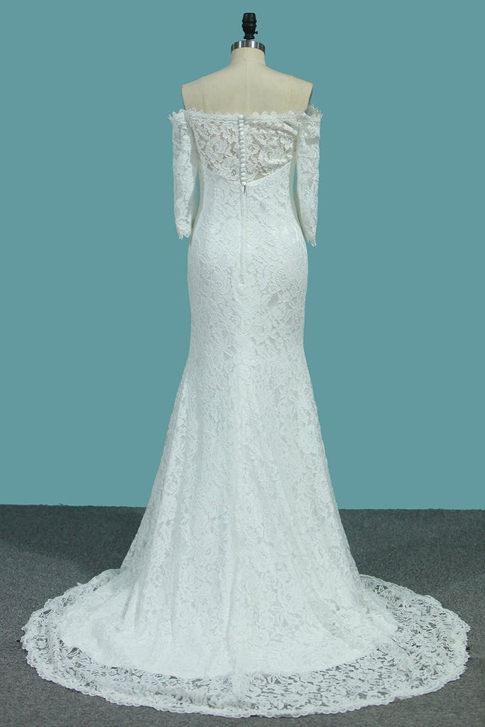 2019 Lace Mermaid Boat Neck 3/4 Length Sleeves Wedding Dresses Sweep Train