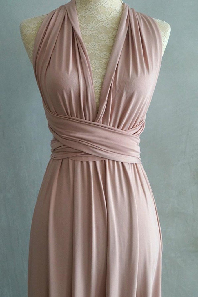 Simple Elegant Open Back Pink Prom Dresses Bridesmaid Dresses