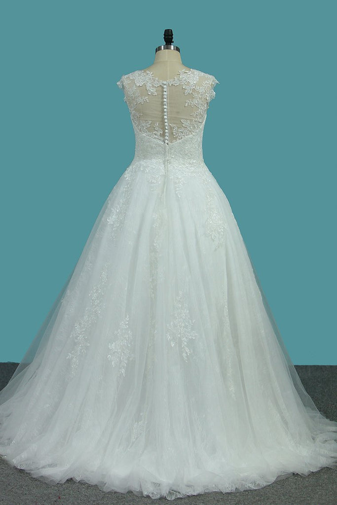 Scoop Tulle & Lace A Line With Applique Sweep Train Wedding Dresses