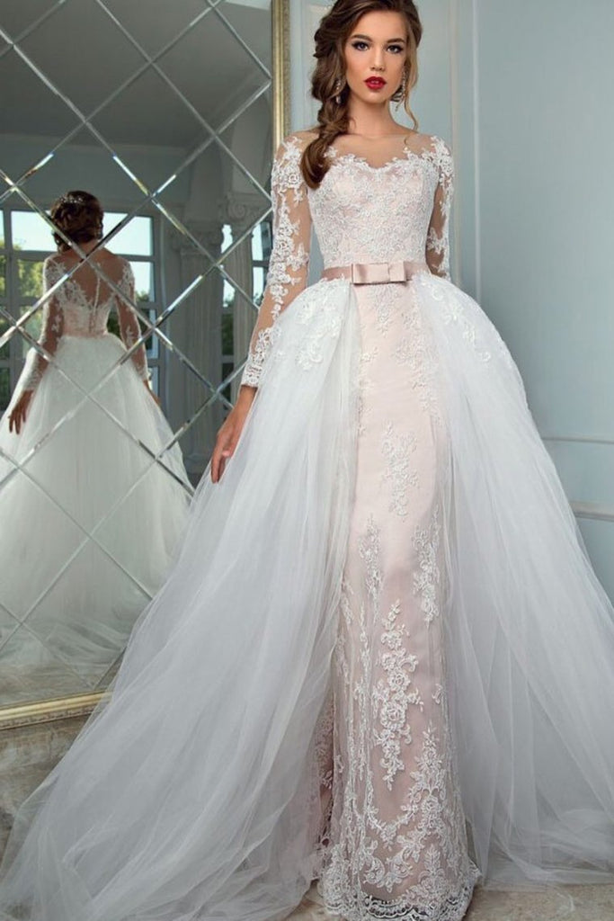 2019 Scoop Long Sleeves Sheath Wedding Dresses Tulle With Applique Chapel Train Detachable
