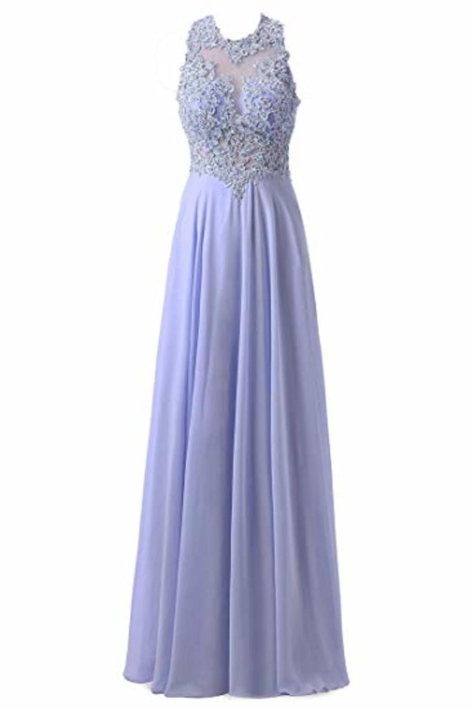 A-Line Round Neck Lace Chiffon Tulle Ball Gown Beading Evening Dress