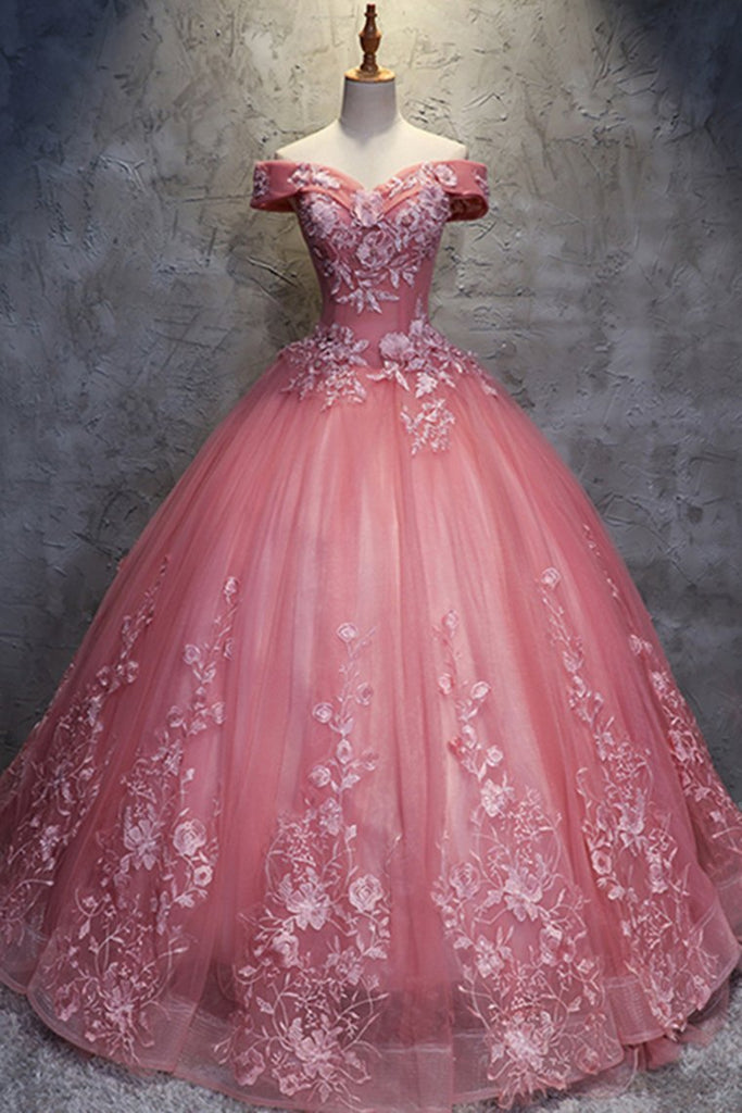 Off The Shoulder Long Ball Gown Lace Princess Prom Dresses Quinceanera Dresses